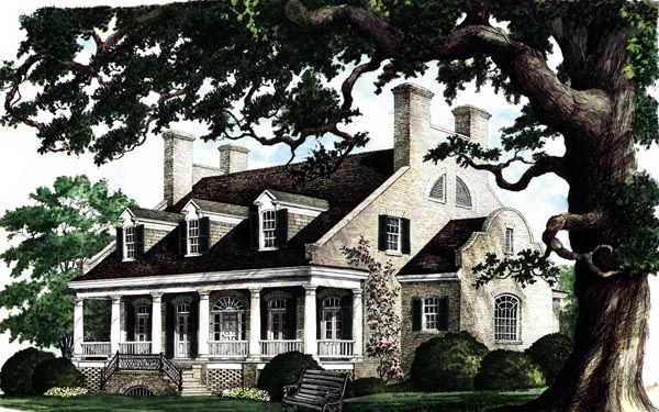 Colonial plantation southern house plan 86174 house for Historic southern house plans