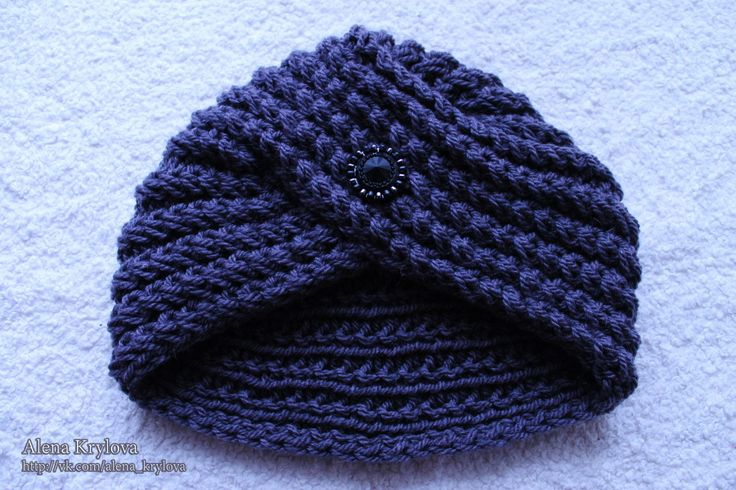 шапочка-чалма спицами узором французская резинка