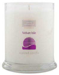 Arran Aromatics Velvet Isle Short Pillar Candle-Scottish Made - Formulated with luscious honeyed fruit and freshly crushed leaf, Velvet Isle is a crisp, warm and sensuous range inspired by vividly beautiful summer sunsets. An aromatic candle, housed in an elegant glass holder.