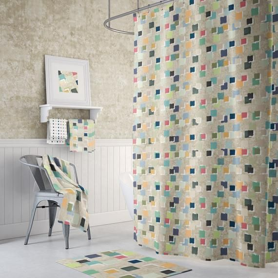 Modern Abstract Artistic Shower Curtain Gender Neutral Etsy In