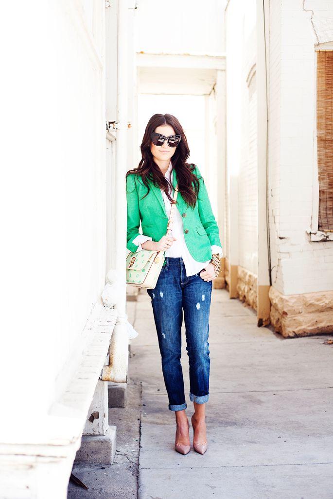 Love blazers.: Style, Green Blazers, Cute Outfits, Colors Blazers, Nude Heels, Blazers Jeans, Boyfriends Jeans, Kelly Green, Pink Peonies
