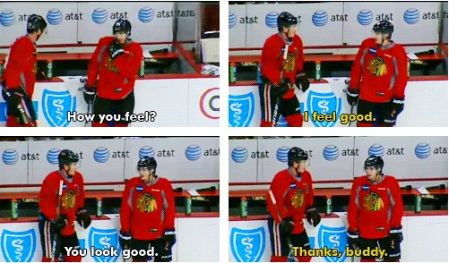 The bromance is uncontrollable. Jonathan Toews & Patrick Kane Chicago Blackhawks