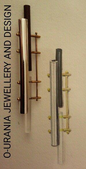 JEWELLERY DESIGN.SILVER, GOLD EBONY AND PLEXIGLASS