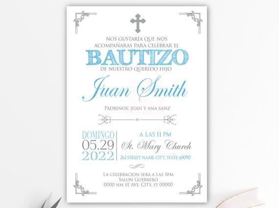 Silver Baptism invitation boy spanish, baptism invitation