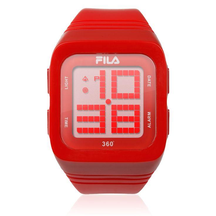#Fila Watches - Filacasual Digital - Fila Men's 360° Sensor Watch in Red. Fila Watches are a statement of sport...