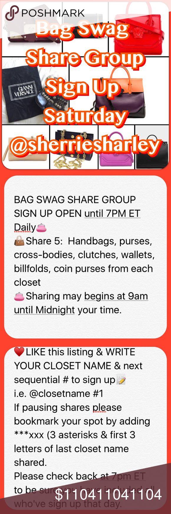 11/4 SAT Bag Swag Share Group Sign Up  Until 7pm 11/4 SAT Bag Swag Share Group Sign Up  Until 7pm JOIN US Bags