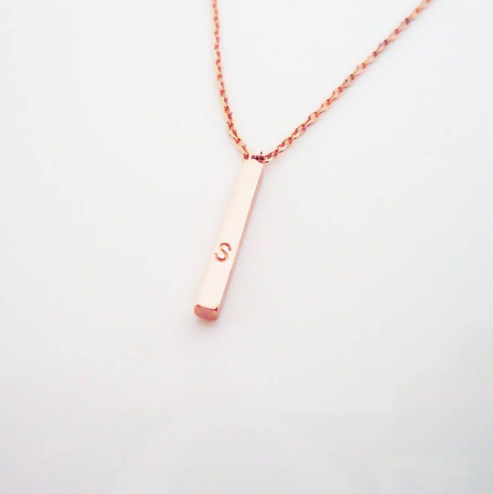 letter name plate necklace unique sterling silver
