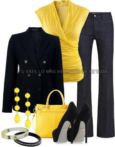 Another wrap top with a nice jacket and Slacks.