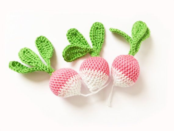 Crocheted radish toy from the garden veggie patch  by MushyP