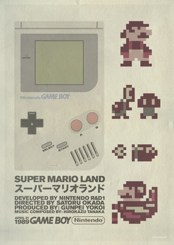 A Little Bit On The Retro Video #Game Poster Side: Creative studio Robotandspark made these Super #Mario Land