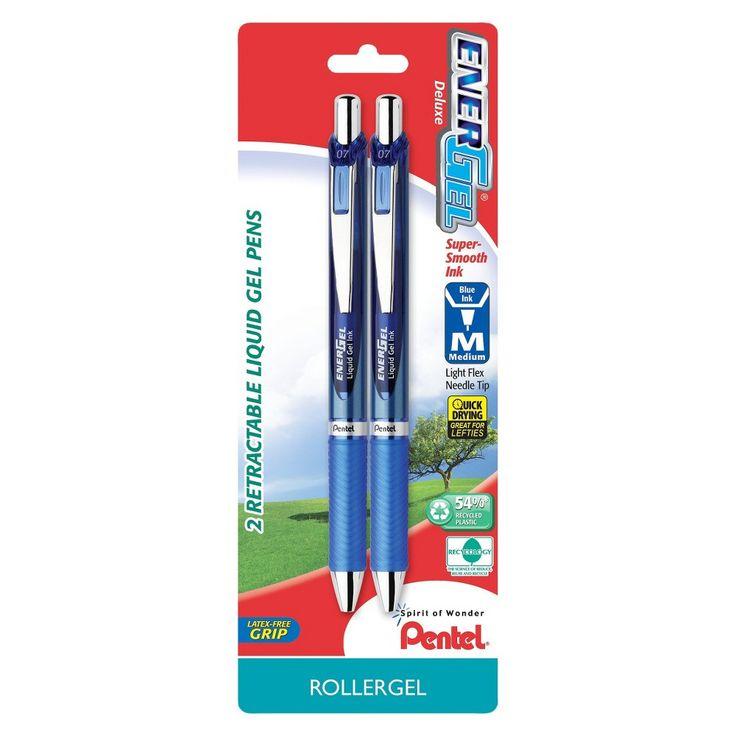 Pentel Energel Deluxe 2ct Blue Medium tip Gel Ink Pen, Blue/Silver