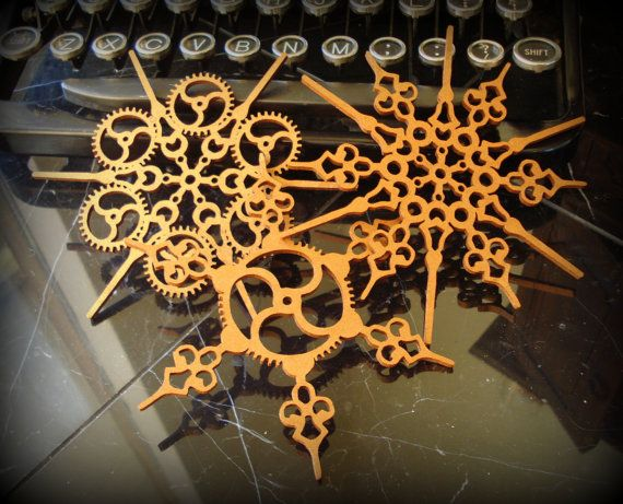 Steampunk Snowflakes Copper Finish by EtchedinTimeLLC on Etsy, $15.00