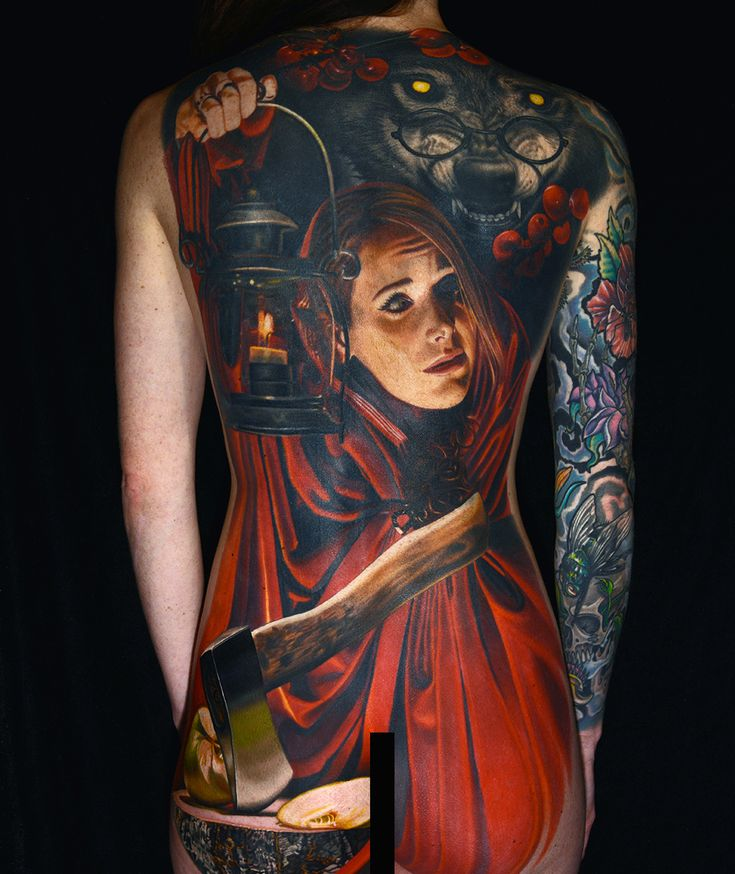 """""""Little Red"""" by full color back piece, by Nikko Hurtado. Black Anchor Collective, Hesperia, CA"""