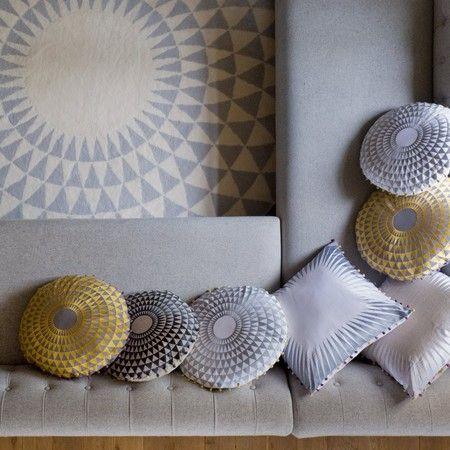 Niki Jones - Concentric Cushion - Slate on Natural Linen