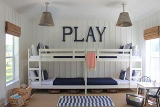 The bunk beds are from Ikea, painted white and doubled up.  Looks campy, but perfect for a kid who loves to have friends sleep-over!