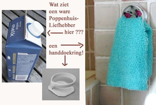 "Oh so clever..towel ring from that plastic thingy from juice/milk carton ~ This pin is great! I love trash-to-treasure ideas, and the use of the word ""thingy"" made me laugh. That's exactly what I would have called it. ;)"
