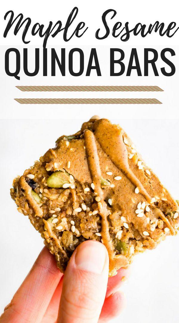 Maple Sesame Quinoa Bars Recipe Quinoa bars, Food