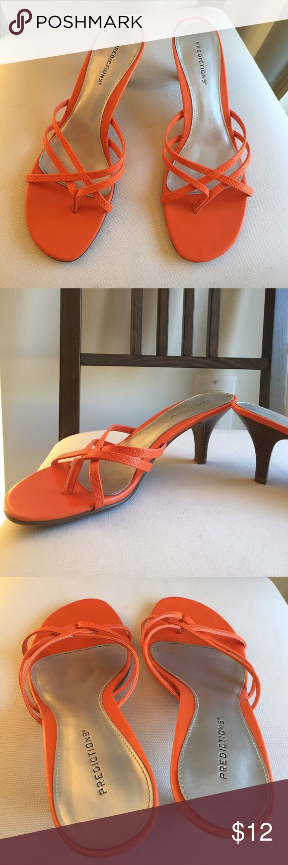 Orange strappy heels Sz 8.5 Predictions™brand dressy sandals/ open heels. Size 8.5 and in excellent condition. Predictions Shoes Heels