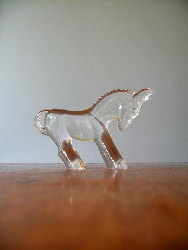 Vintage Kosta Boda Donkey - Cast Glass Figurine. $38.00, via Etsy.