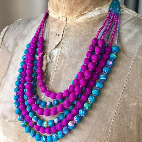 Copy of Silk Beads - 6 Strand - Dark Cerise and Aqua