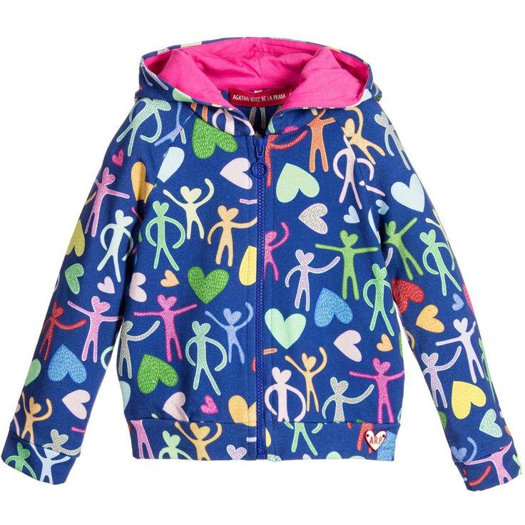 Agatha Ruiz de la Prada Girls Colourful Cotton Tracksuit Jacket with Hearts at…