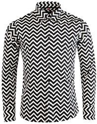 Zig Zag Trip MADCAP ENGLAND Mod Button Down Shirt: http://www.atomretro.com/23936 #madcapengland #zigzagtrip #tripshirt #buttondownshirt #shirt #mensshirt #opart #1960s #psychedelic #atomretro #mensfashion #mensstyle