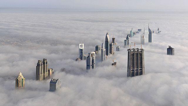 Foggy Dubai Dubai Skyscraper Above The Clouds Cloud City