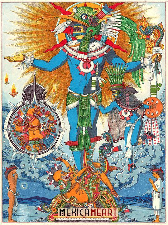 Huitzilopochtli fina lámina espiritualidad Mexica por MexicaHeart