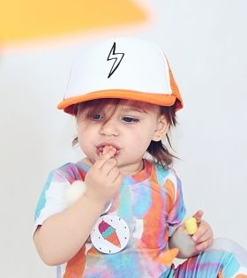 Cute girl in cap #romper #kidsfashion #kidscap #kidsstyle #pin #icecream #cutegirl