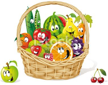 happy fruit and vegetable cartoon in basket Royalty Free Stock Vector Art Illustration