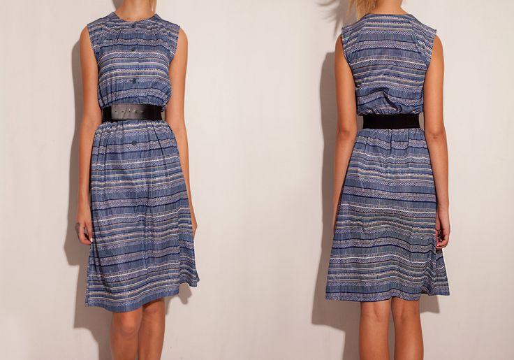 1960's Blue Striped dress | silver printed dress | Bridesmaid dress | Vintage dress | Japan dress | 60's 70's 80's dress | Summer dress by VintageCosmopolitan on Etsy