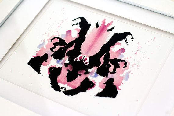 8 x 10 Rorschach Ink Blot Watercolor Giclee Print by THEAESTATE, $22.00