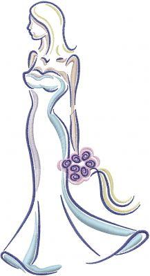 Machine Embroidery Designs Embroidery Design: Bride 9.85 inches H x 5.33 inches W