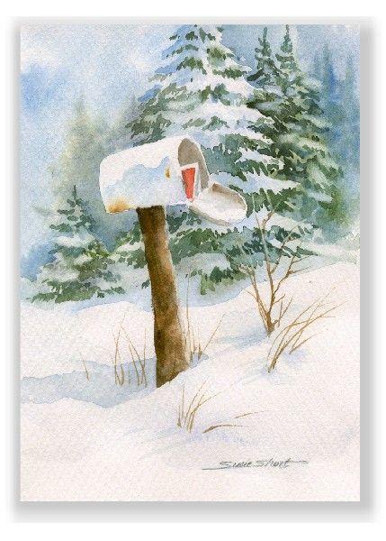 watercolor christmas cards art | Winter Mailbox Watercolor Christmas Greeting Card by Susie Short