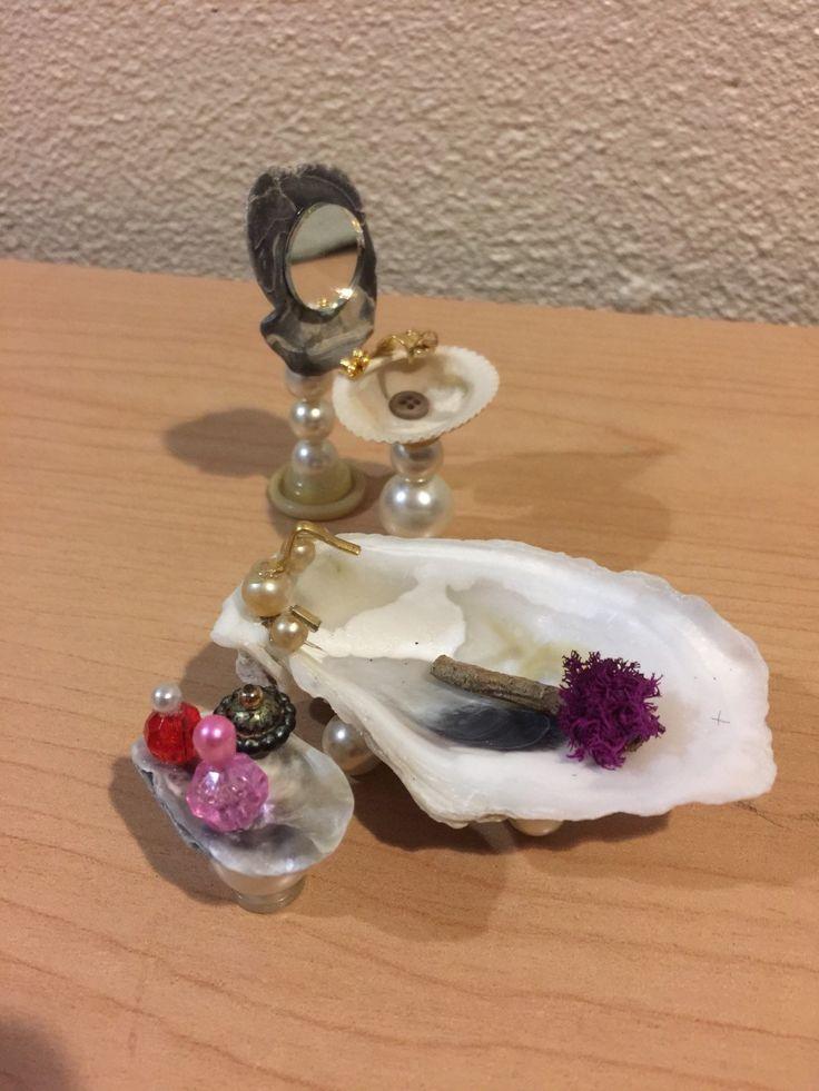 Miniature Seashell Bathroom Set, Seashell Bathtub, Seahell Sink, Seashell Mirror, Miniatures, Dollhouse, Fairy Garden, Terrarium Garden by MyFairyPatch on Etsy