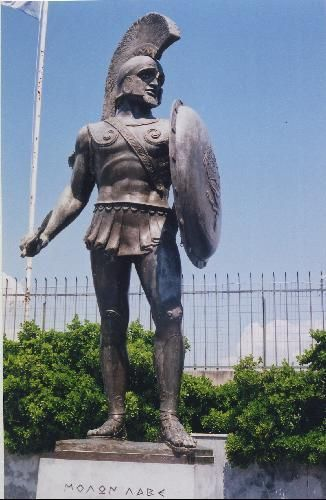 King Leonidas of Sparta (reigned c. 490 – 480 B.C.) was a 5th century B.C. Spartan military king who bravely led a small force of Greeks -- mostly Spartan (the famous 300), but also Thespians and Thebans -- against the much larger Persian army of Xerxes, at the pass of Thermopylae, in 480 B.C. during the Persian Wars.