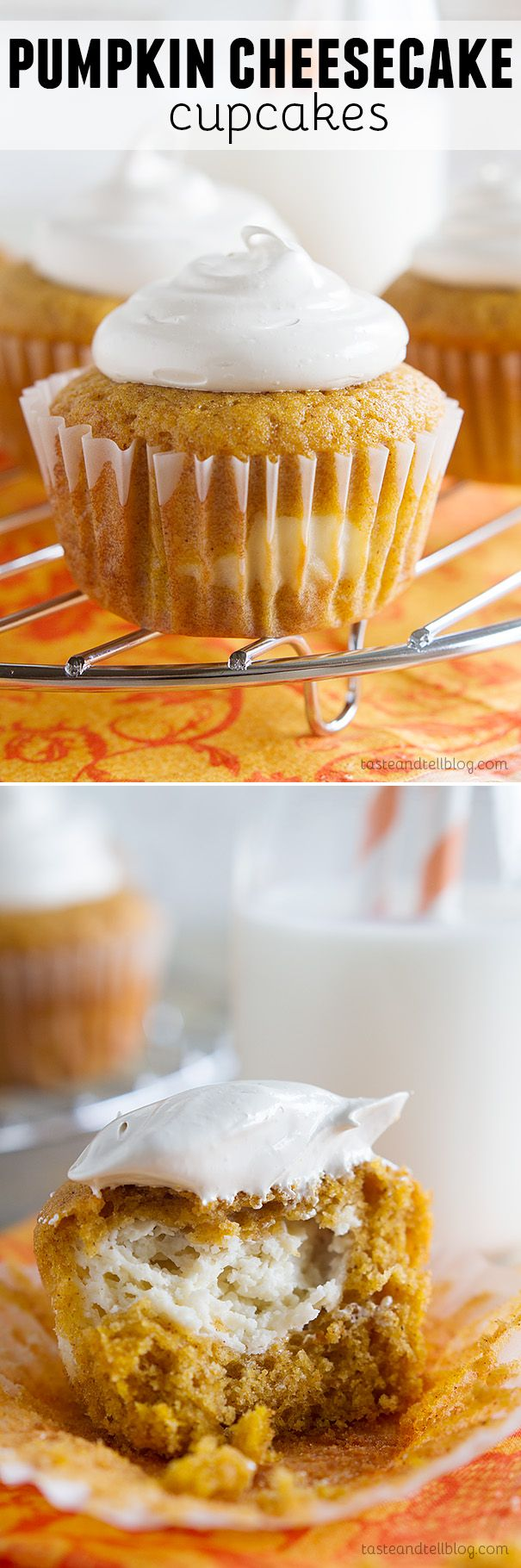 Pumpkin Cheesecake Cupcakes - These pumpkin cheesecake cupcakes have moist pumpkin cupcakes that have a cheesecake center baked in, and then are topped with a light brown sugar marshmallow frosting.