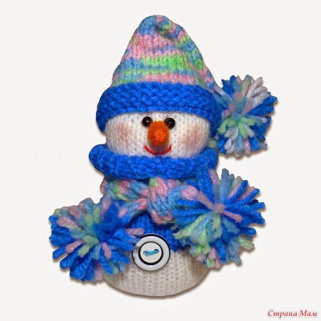 Снеговик, связанный спицами. Хороший подарок родным и близким.