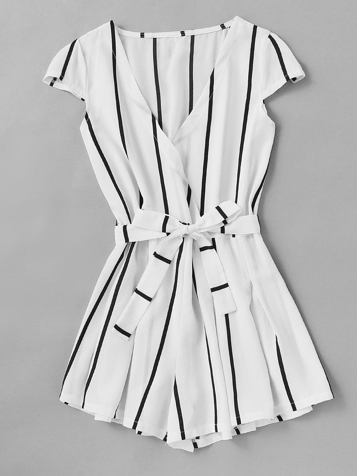 Vertical Striped Surplice Romper With Belt