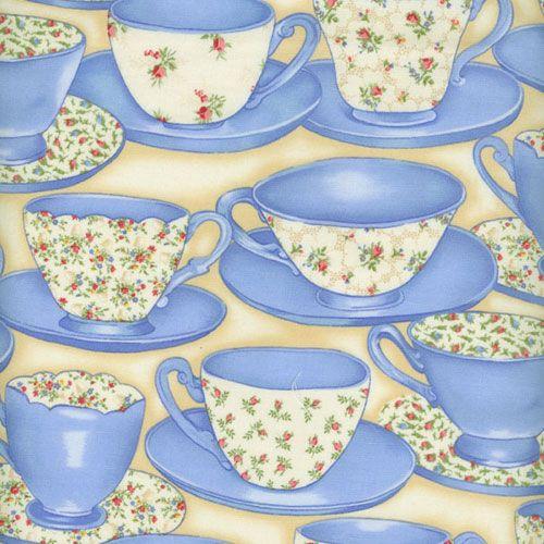Fabric Freedom English Teatime Teacups Blue Patchwork
