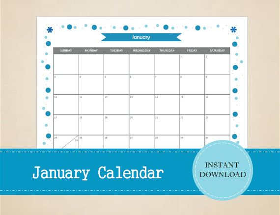 Printable January 2016 Calendar  Seasonal by MBucherConsulting
