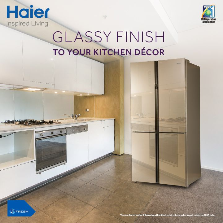 Jazz up your kitchen décor with Glass Door Side By Side #Refrigerator from Haier. Own it to add a royal look to your kitchen appliances.