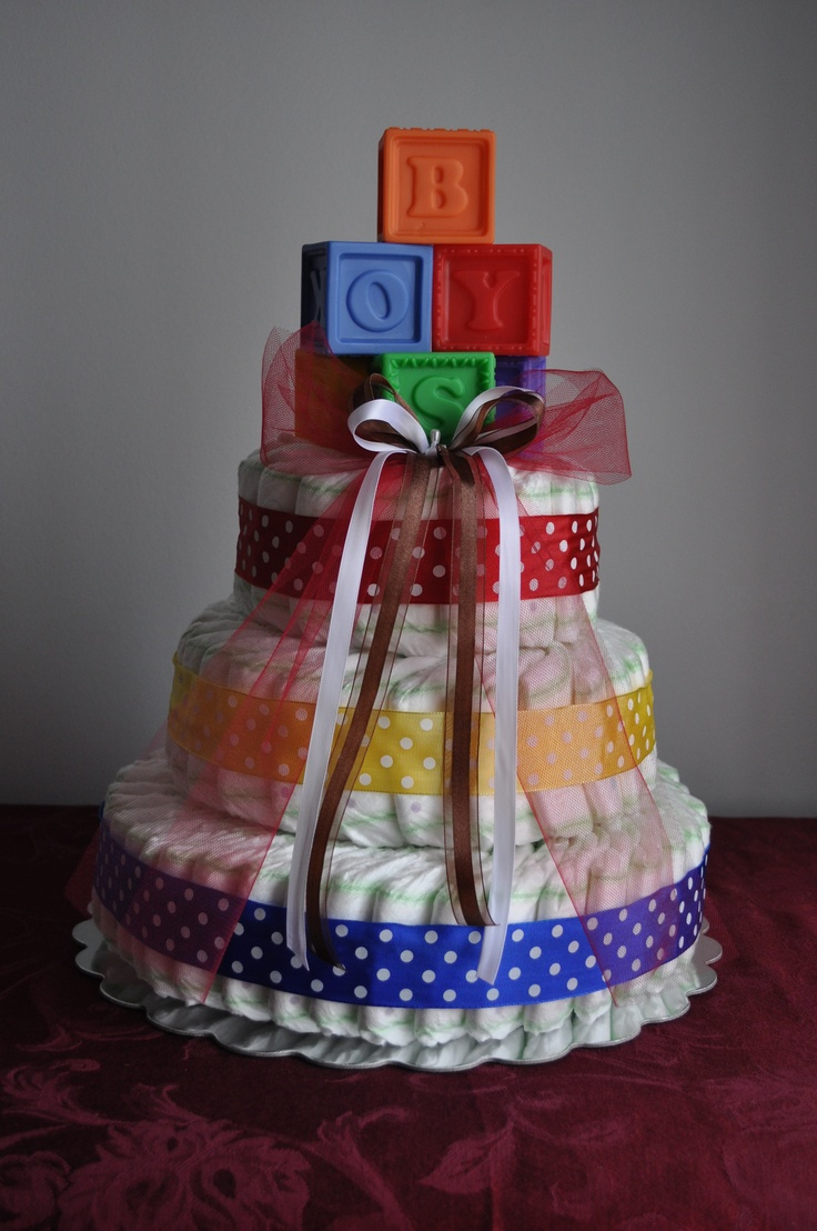 Diaper Cake - red/yellow/blue with bath blocks
