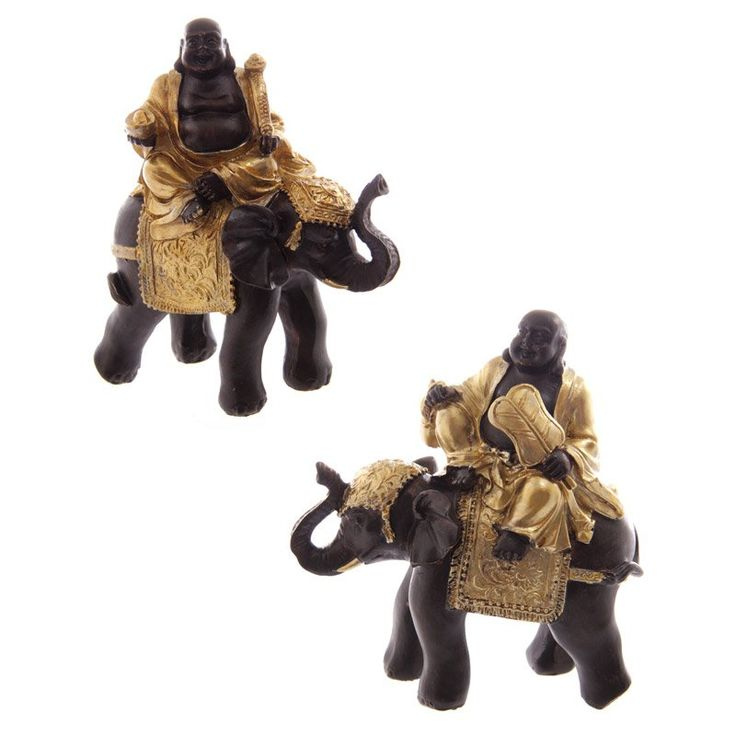 Gold+and+Brown+Chinese+Buddha+Riding+Elephant+(Set+of+2)