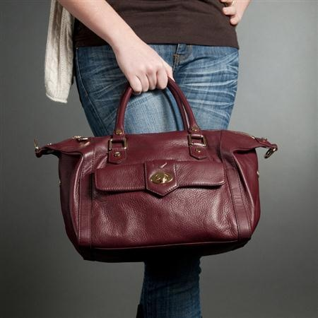 Karla Hanson - Burgundy Satchel Bag - $199.00/each This Ladies Fashion Satchel Bag is made from cow leather with a golden finish, approximately 29.5 x 17 x 19-15 cm. Presented by www.ecomcreator.com