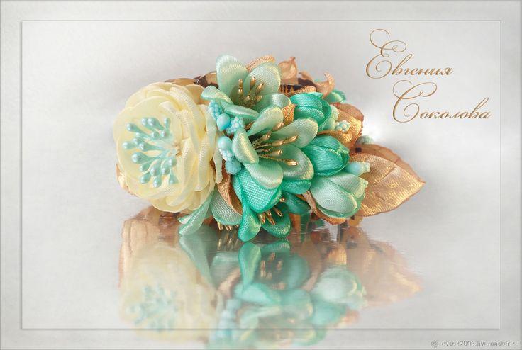 Заколка - краб с цветами Бирюза в золоте – купить в интернет-магазине на Ярмарке Мастеров с доставкой