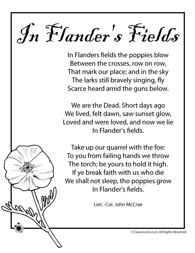 Memorial Day Worksheets for Kids Poppy Poem for Memorial Day and Veterans Day –…