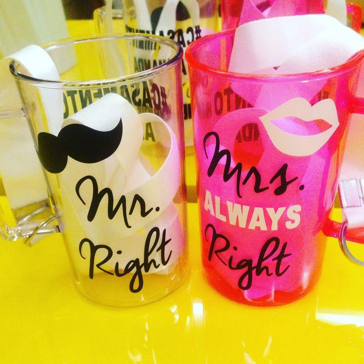 Canecas de acrílico Mr. Right & Mrs. Always Right.  #caneca #noivos