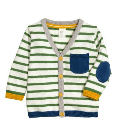 Fine-knit, V-neck cotton cardigan. Buttons and pocket at front and contrasting elbow patches.