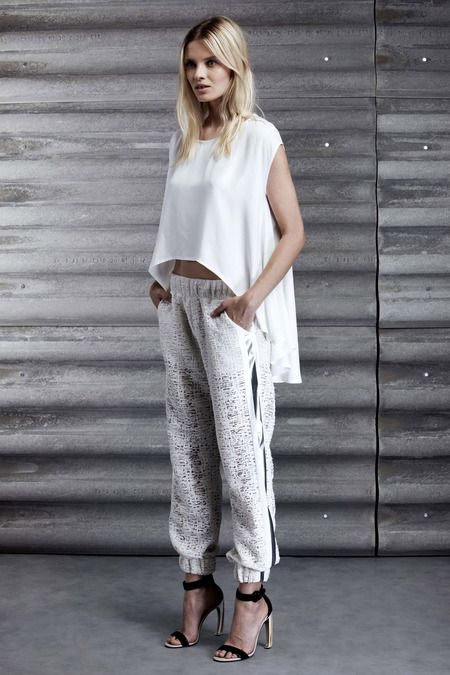 My pimped up designer casual look by Kay Ahr. Resort 2014 collection. White casual oversized crop top and joggers.